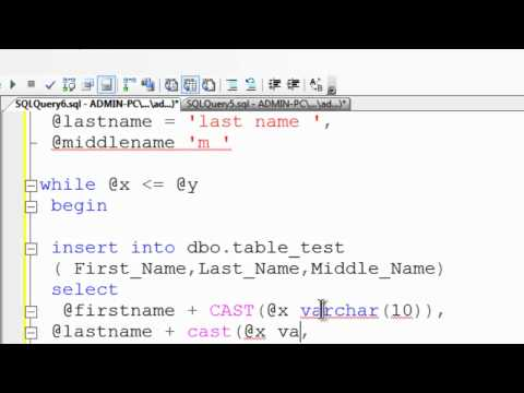 SQL Server Express 2008 R2 Tutorial 6 - Inserting Data In Tables Using The While Loop