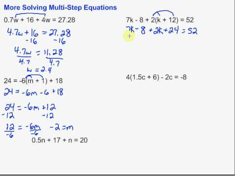 More Solving Multi-Step Equations