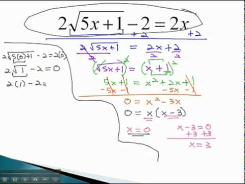 Equations with Radicals - Isolate Radical (part 2)