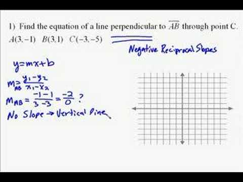 A15.16 Finding the equation of a perpendicular line