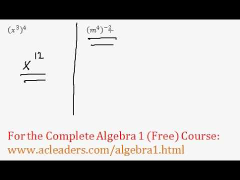 (Algebra 1) Exponents - Power Rule Questions #1-2