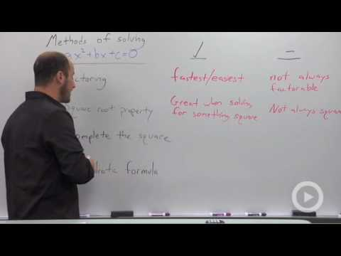 Algebra 2 - Overview of the Different Methods of Solving a Quadratic Equation