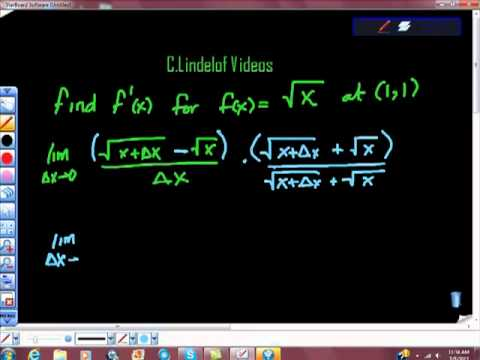 Using the Derivative to Find the Slope at a Point Square Root Function