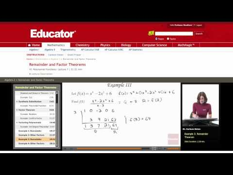 Algebra 2: Remainder and Factor Theorems