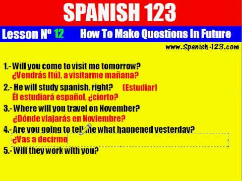 Class 12. How to Make Questions in Future in Spanish.