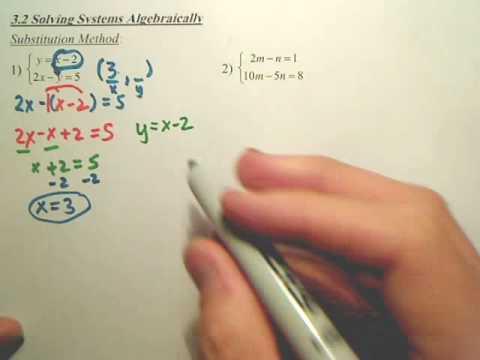 3.2a Solving Systems Algebraically - Algebra 2