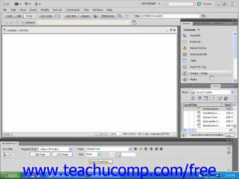 Dreamweaver CS5 Tutorial The Insert Panel Adobe Training Lesson 1.8