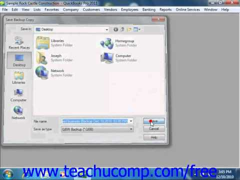 QuickBooks 2011 Tutorial Compnay File Cleanup Intuit Training Lesson 26.1