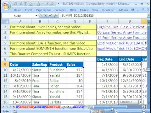Excel Magic Trick 404: Quarterly Comparative Report  SUMIFS function