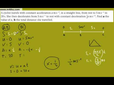 (5) M1 Kinematics - SUVAT equations - M1 Mechanics (Solving for x)