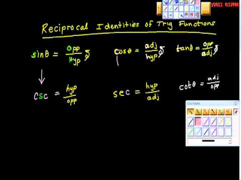 Reciprocal Identities of Trig Functions Precalculus Trigonometry Geometry
