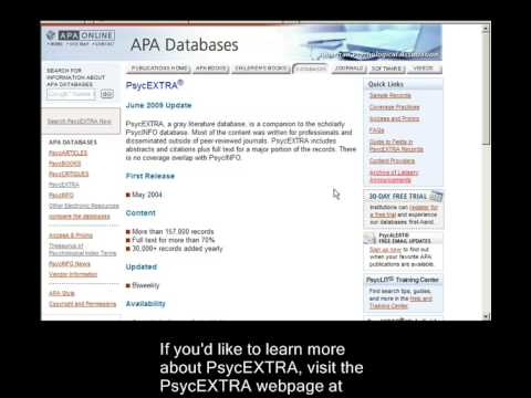 A closer look at the PsycEXTRA database