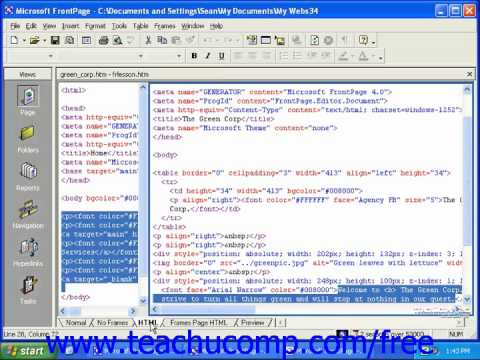 FrontPage Tutorial The Basics of HTML Code Microsoft Training Lesson 14.1