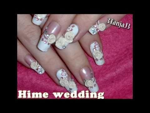 """Wedding""Series; *Hime Wedding 3D Acrylic Nail Art Design*"