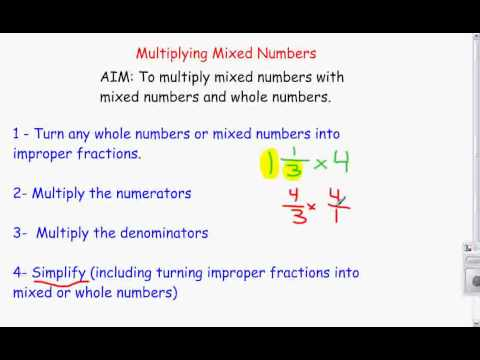 Multiplying Mixed Numbers with Whole Numbers