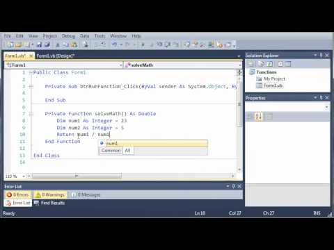 Visual Basic Tutorial - 43 - Functions