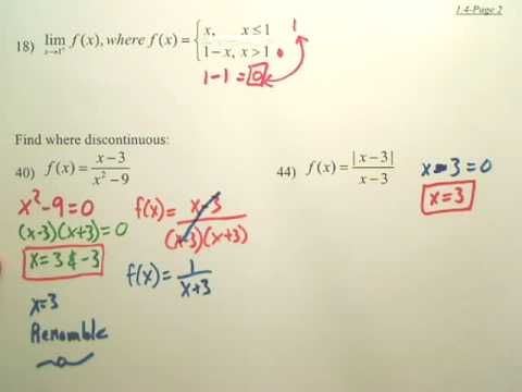 1.4b Continuity and One-Sided Limits - Calculus