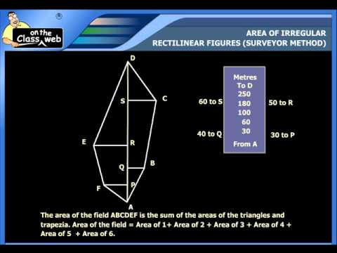 Area of Irregular. Rectilinear figures (Surveyor Method)