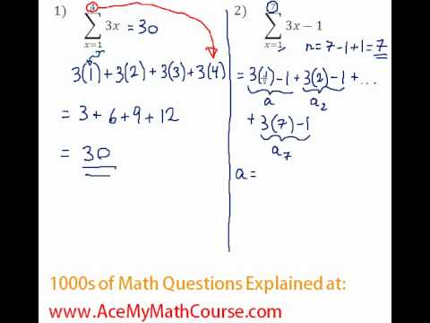 Arithmetic Series - Sigma Notation #1-2