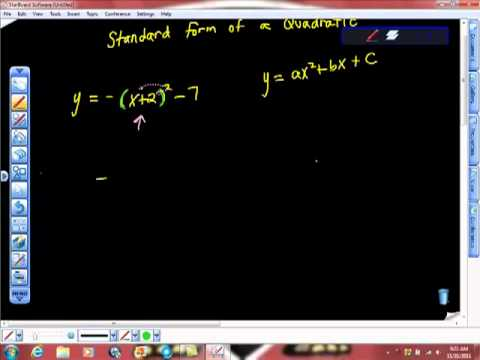 Standard Form of a Quadratic Function Algebra
