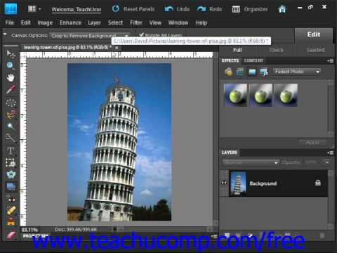 Photoshop Elements 9.0 Tutorial The Straighten Tool Adobe Training Lesson 13.18