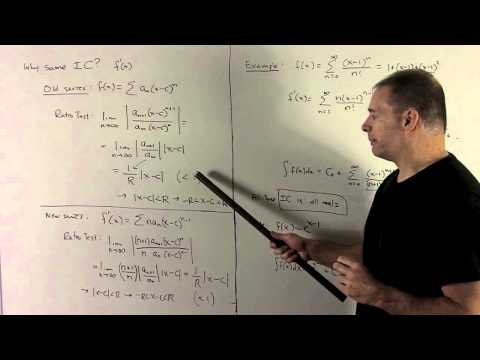 Derivative/Antiderivative of a Power Series 1b - Interval of Convergence