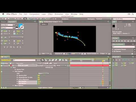 Adobe After Effects CS5:ANIMATING TEXT:  Creating Text on a Path