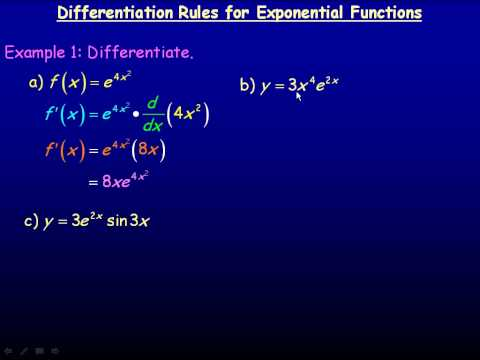 Differentiation Rules For Exponential Functions Part 1.avi