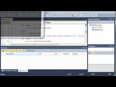 Visual Basic Tutorial - 28 - Exiting For Loop