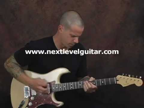 Rhythm elements into Blues guitar lesson clean strat Pentatonics chords licks solo