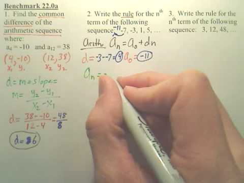 Benchmark 22a - Arithmetic & Geometric Sequences - Algebra 2