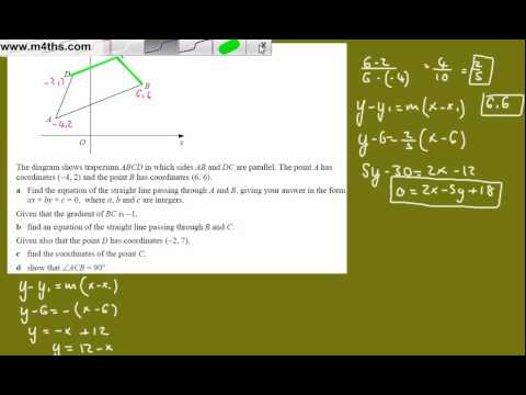 (r) Core 1 Coordinate geometry (Tough C1 exam question)