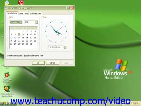 Windows XP Tutorial Setting the Date and Time Display Microsoft Training Lesson 3.2