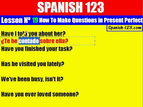 Class 19. How to Make Questions in Present Perfect in Spanish.