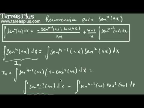 Integral de seno a la n (fórmula de recurrencia)
