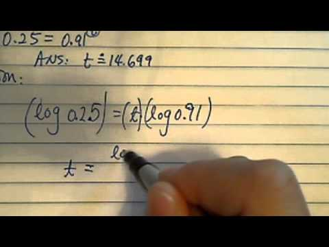 *Log & Exponential Equations: 0.25 = 0.91^t