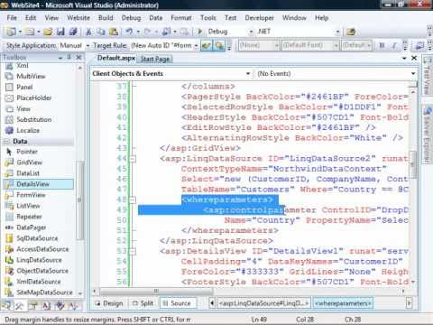 First Look at Visual Studio NET 2008 and the LinqDataSource by Dan Wahlin