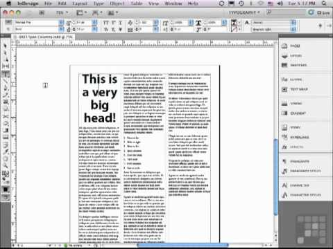 The easy way to Spanning Columns in Adobe InDesign CS5