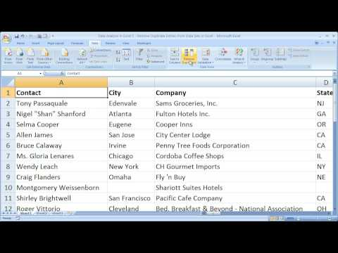 Data Analysis in Excel 5 - Remove Duplicate Entries from Data Sets in Excel