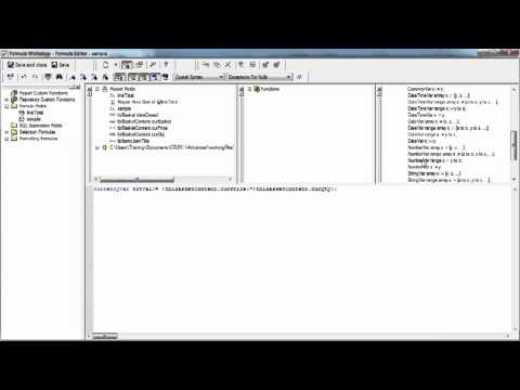 Advanced Crystal Reports 2011 Tutorial | Declaring Variables to use in Formulas