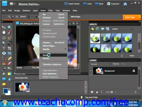 Photoshop Elements 9.0 Tutorial Adjusting Pixel Selections Adobe Training Lesson 8.8