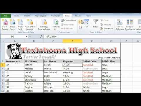 Excel 2010: Sorting