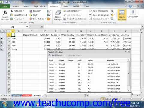 Excel 2010 Tutorial Using the Watch Window Microsoft Training Lesson 17.5