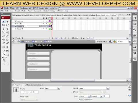 How to structure a full flash actionscript 3 web site tutorial CS3 + CS4 - Part 2