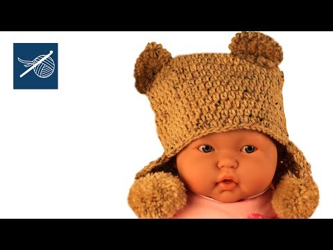 Crochet Cap with Bear Ears- Ear Flaps - Toddler Size - Left hand