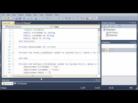Visual Basic Tutorial - 69 - More On Structures
