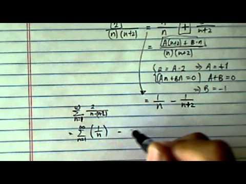 Infinite Sum (Telescoping Series):  ∑ (n=1)^∞ of (2/n(n+2))