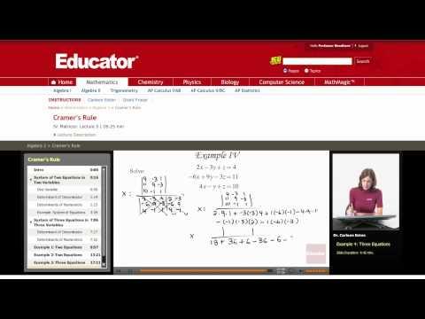 Algebra 2: Cramer's Rule