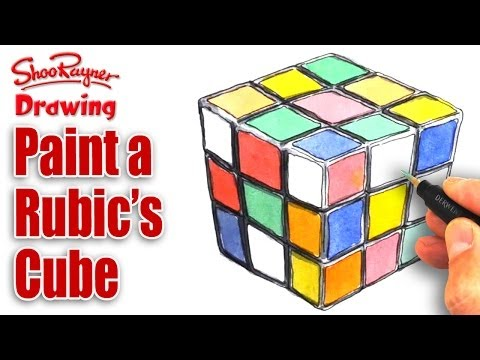 How to paint a Rubik's Cube in Watercolour