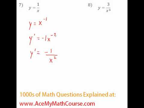 Derivatives - Power Rule Questions #7-8